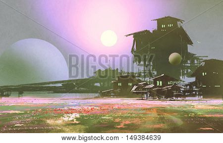 factory and industry in flower fields, sci-fi scene, illustration painting