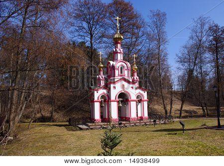 Belfry of Saint David church. Ascension monastery in Talezsh Russia
