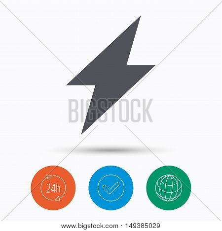 Lightning icon. Electricity energy power symbol. Check tick, 24 hours service and internet globe. Linear icons on white background. Vector