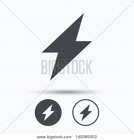 Lightning icon. Electricity energy power symbol. Circle buttons with flat web icon on white background. Vector