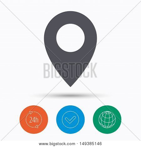 Location icon. Map pointer symbol. Check tick, 24 hours service and internet globe. Linear icons on white background. Vector