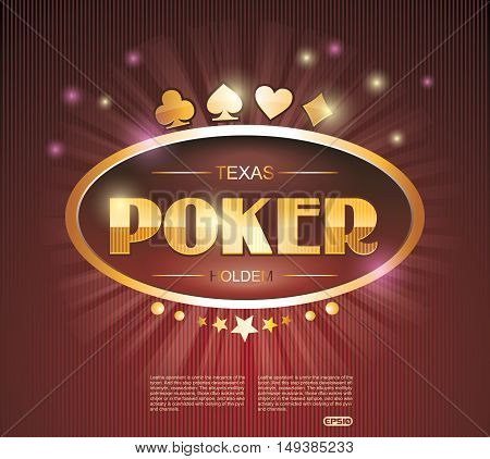 Vector Casino Theme With Poker Red Neon Sign.