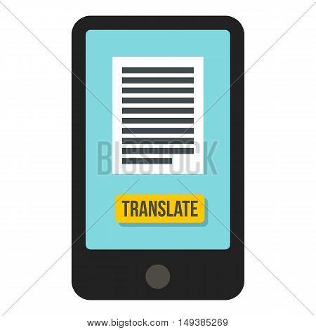Translator on phone icon in flat style isolated on white background. Translate symbol vector illustration