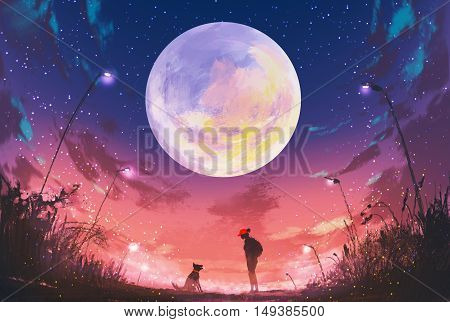 young woman with dog at beautiful night with huge moon above, illustration painting