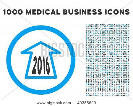 2016 Ahead Arrow icon with 1000 medical commerce gray and blue vector pictograms. Design style is flat bicolor symbols, white background.