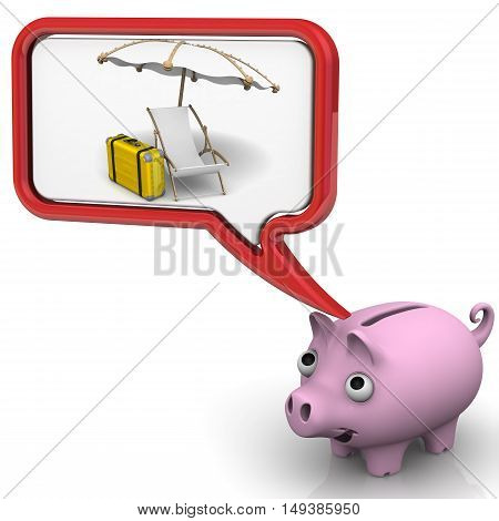 Savings on vacation. Pig piggy bank dreaming about vacation. Isolated. 3D Illustration