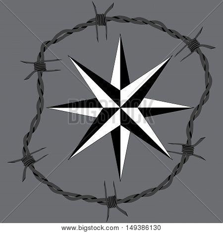Barbed wire circle frame windrose navigation symbol. Vector fence illustration. Protection concept design.