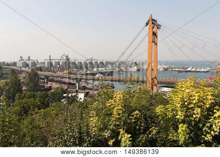 Ship-repair yard. Industrial zone of sea cargo port with grain dryers containers cranes and storehouses photo