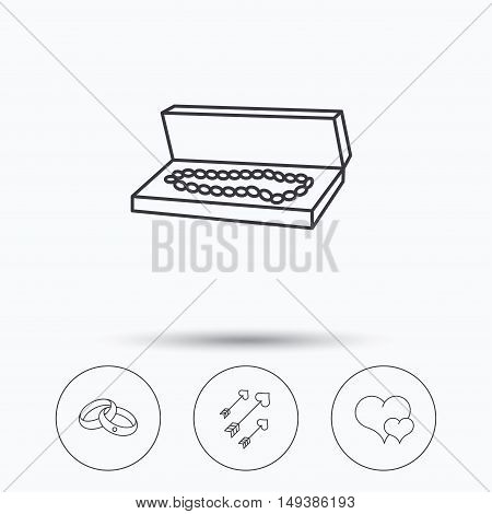 Love heart, jewelry and wedding rings icons. Arrows with hearts linear sign. Linear icons in circle buttons. Flat web symbols. Vector