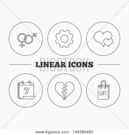 Love heart, gift bag and male with female icons. Broken heart or divorce linear signs. Flat cogwheel and calendar symbols. Linear icons in circle buttons. Vector