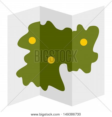 Road map icon in flat style isolated on white background. Direction symbol vector illustration