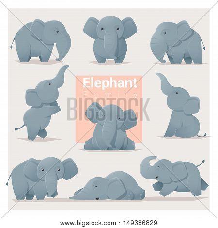 Set of Elephant family , vector , illustration