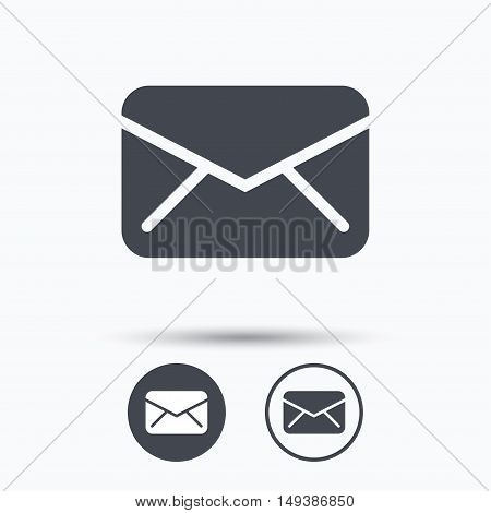 Envelope icon. Send email message sign. Internet mailing symbol. Circle buttons with flat web icon on white background. Vector