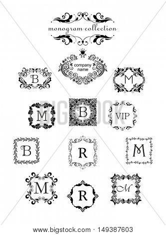 Collection of vintage floral templates. Logo templates, vintage vector black monogram, frames for menu card, invitation label, Restaurant, Cafe, Hotel