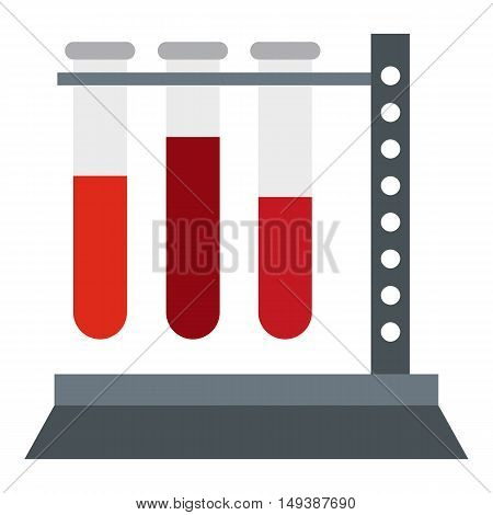 Vial for blood collection icon in flat style isolated on white background. Laboratory symbol vector illustration