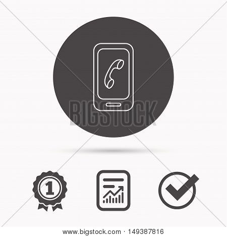 Smartphone icon. Cellphone with touchscreen sign. Report document, winner award and tick. Round circle button with icon. Vector