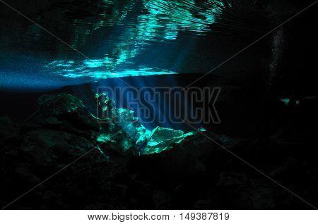 Reflection of sunrays and rocks on a water surface, Tajma ha cave, Yucatan peninsula, Mexico