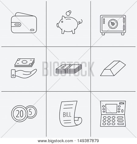 Piggy bank, cash money and wallet icons. Safe box, gold bar and dollar usd linear signs. Bill, coins and ATM icons. Linear icons on white background. Vector