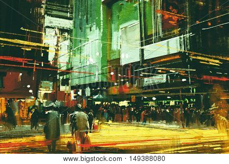 cityscape painting, crowds of people at a busy crossing street