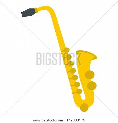 Saxophone icon in flat style isolated on white background. Musical instrument symbol vector illustration