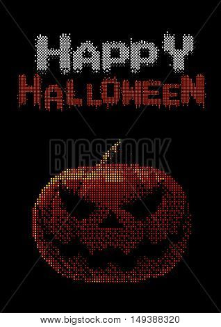 Halloween pumpkin jack lantern with digital pixel 8 bit color style on dark background