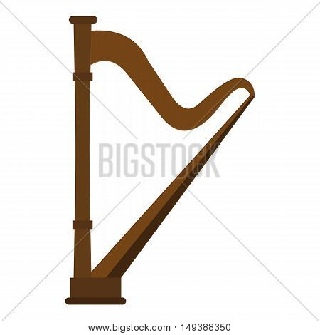 Harp icon in flat style isolated on white background. Musical instrument symbol vector illustration