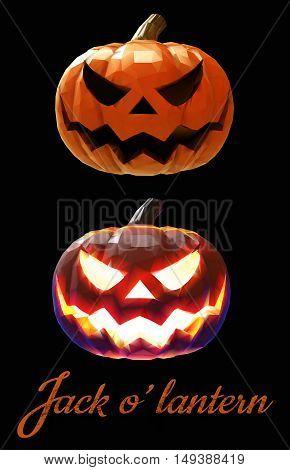 Halloween pumpkin jack lantern with two different mood on dark background