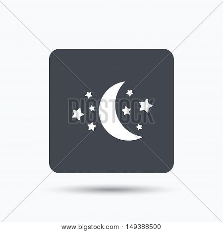 Moon and stars icon. Night sleep symbol. Gray square button with flat web icon. Vector