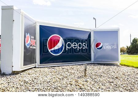 Indianapolis - Circa September 2016: Pepsi Bottling Signage. Pepsi is one of the largest beverage producers in the world II