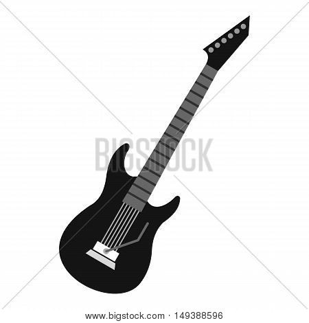 Electric guitar icon in flat style isolated on white background. Musical instrument symbol vector illustration