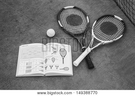 Racket Tennis Ball Book Guidelline Sport Concept