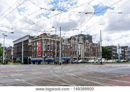 ROTTERDAM, Netherlands - August 10 : Street view of Rotterdam on August 10, 2016, in  Netherlands. back to 1270 when a dam was constructed in the Rotte river by people settled around it for safety.