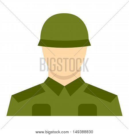 Soldier icon in flat style isolated on white background. Military symbol vector illustration