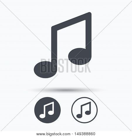 Music icon. Musical note sign. Melody symbol. Circle buttons with flat web icon on white background. Vector