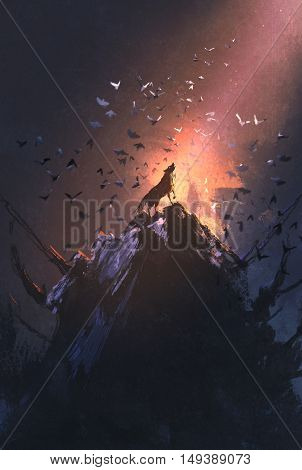 howling wolf on rock with bird flying around, illustration painting