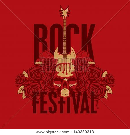 music poster with an electric guitar among flowers roses and the words Rock festival