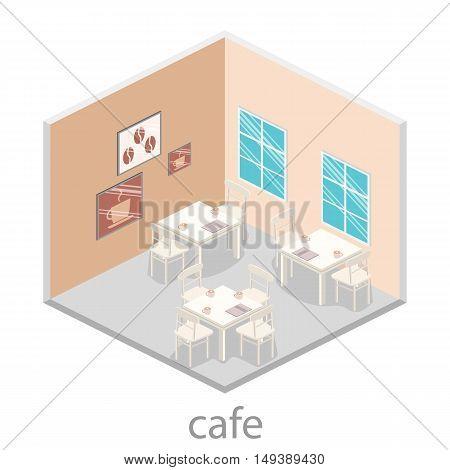 Isometric Interior Of Coffee Shop. Flat 3D Isometric Design Interior Cafe Or Restaurant.