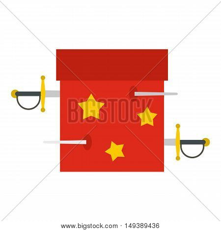 Box of tricks with daggers icon in flat style isolated on white background. Tricks symbol vector illustration