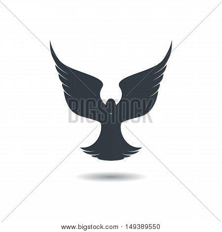 Flying dove on a white background. Bird logo.