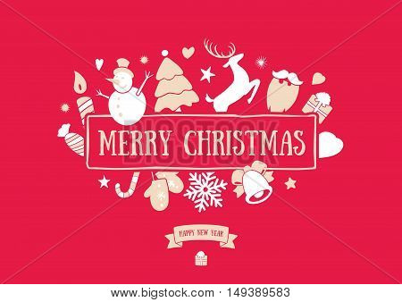 Merry Christmas decoration and card design. Happy New Year design elements. Vintage symbols of red deer, bell, snowflake, ribbon, bow, tree, snowman. Holiday hand drawn vector icons set.