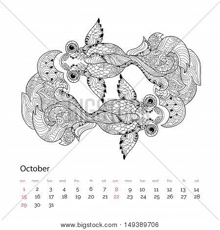 Zen Art Stylized Floral China Fish Doodle