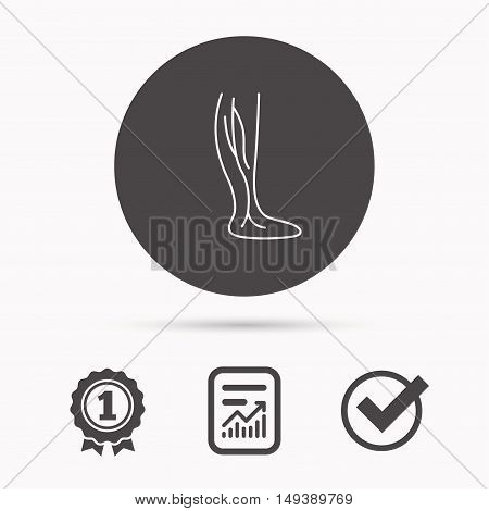 Phlebology icon. Leg veins sign. Varicose or thrombosis symbol. Report document, winner award and tick. Round circle button with icon. Vector