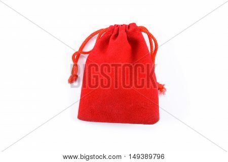 red bag fabric are closing isolated on white background