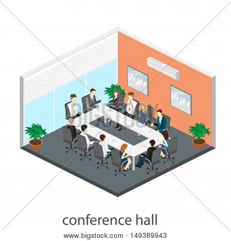 Business Meeting In An Office Business Presentation Meeting In An Office Around A Table.