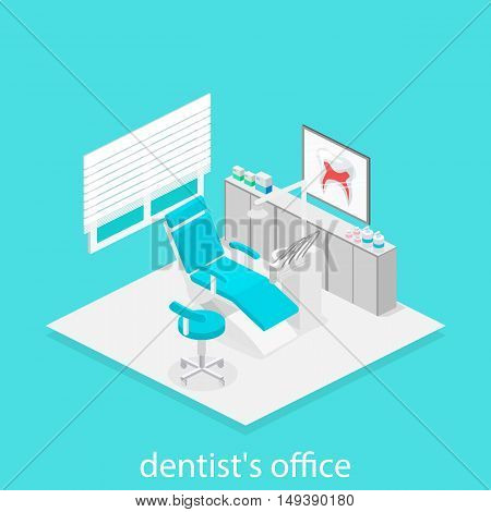 Isometric Dentist Office. Dentistry And Doctors Office, Dental And Medical, Health Oral, Mouth Healt