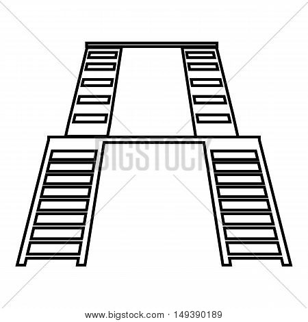 Double ladders icon in outline style isolated on white background. Construction symbol vector illustration