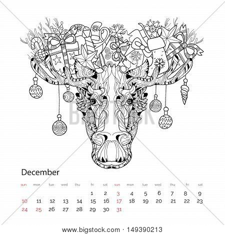 Christmas Head Of Elk Vector Illustration