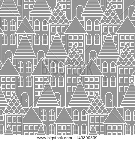 Gray and white line city seamless vector pattern. Town landscape with houses repeat background. Line style coloring page.