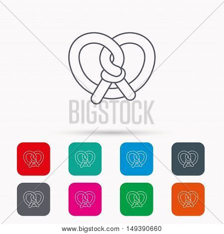 Pretzel icon. Bakery food sign. Traditional bavaria snack symbol. Linear icons in squares on white background. Flat web symbols. Vector