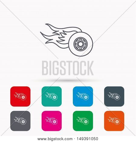 Wheel on fire icon. Race or Speed sign. Linear icons in squares on white background. Flat web symbols. Vector